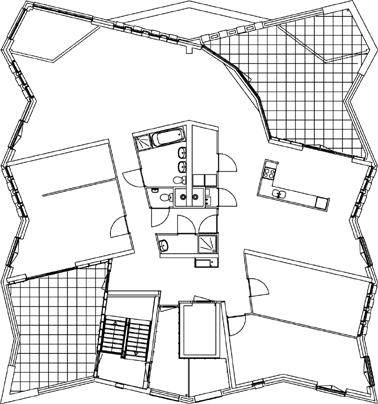 Plattegrond penthouse vierde verdieping schaal 1:500