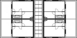 Plattegrond tweede verdieping koopwoningen 1:400
