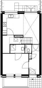 Plattegrond tweede verdieping Oltmanstraat schaal 1:250