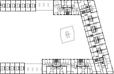 Plattegrond tweede verdieping schaal 1:1000