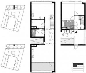 Plattegrond woning corridorgebouw schaal 1:250