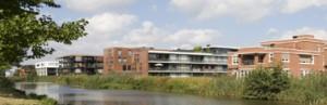 Overzicht vanuit het zuidoosten, met van rechts naar links de appartementenblokken van PBV, Architectenwerkgroep Tilburg, Inbo, Roos en Ros en Klunder Architecten