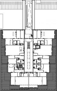 Plattegrond begane grond appartementen 1:500