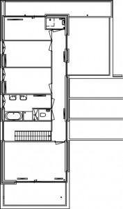 Plattegrond eerste verdieping vrijstaande woningen 1:500