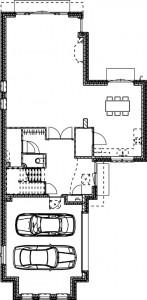 Plattegrond begane grond vrijstaande woning 1:250