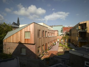 Overzicht van het hofje met links de woningen en rechts de appartementen