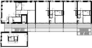 Plattegrond tweede verdieping  schaal 1:500