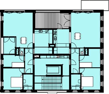 Plattegrond twaalfde verdieping schaal 1:600