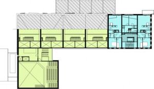Plattegrond vierde verdieping schaal 1:600