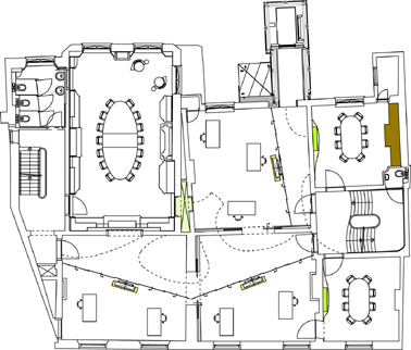 Plattegrond tweede verdieping schaal 1:400