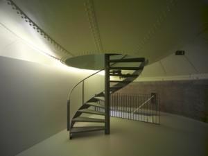 Elke etage heeft een eigen sfeer. Vanaf de derde verdieping voert de wenteltrap door de bodem van het waterreservoir