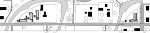 Situatie 1:3000 Rechts het eigen huis van Courage, links drie woningen in staal, eveneens naar ontwerp van Courage