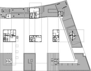 Plattegrond achtste verdieping 1:1250