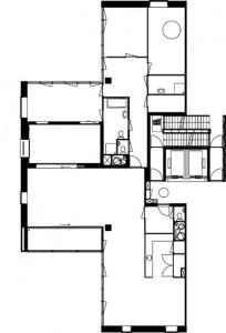 Plattegronden drie verschillende woningindelingen en penthouse 1:400