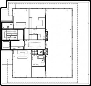 Plattegrond vijfde verdieping 1:400