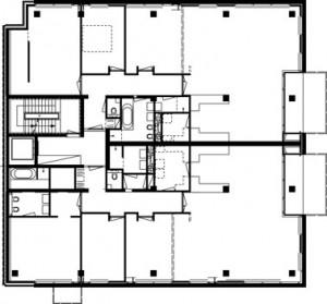 Plattegrond derde en vierde verdieping 1:400