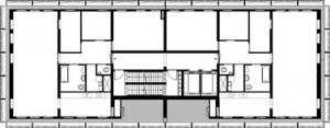 Plattegrond standaard torenverdieping 1:400