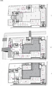 Plattegronden kelder, begane grond en eerste verdieping 1:500