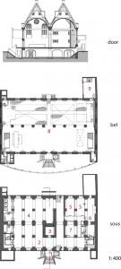 Plattegronden souterrain en beletage plus doorsnede 1:400