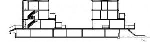 Plattegrond en doorsnede eengezinswoningen 1:750