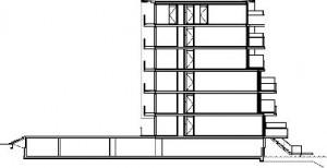 Plattegrond en doorsnede appartementenblok 1:750