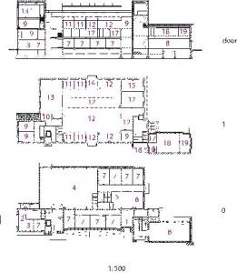 Plattegronden begane grond en verdieping plus doorsnede 1:500