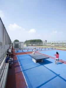 Het buitensportveld op het dak