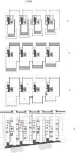 Plattegronden begane grond, eerste, derde en vierde verdieping 1:1000Plattegrond begane grond 1:1000