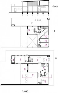 Plattegronden begane grond en verdieping plus doorsnede 1:200