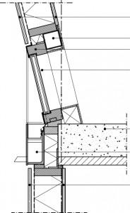 Verticale doorsnede voorgevel ter hoogte van eerste verdiepingsvloer 1:20