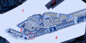 Situatie schiereiland Katendrecht met Body House in rode cirkel