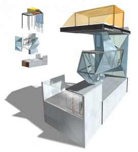 Concept met betonnen plint, een stalen frame en de grillig gevormde Body
