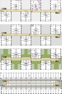 Plattegronden eerste, tweede, derde en zevende verdieping 1:750