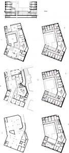 Plattegronden kelder, begane grond, eerste t/m vierde verdieping plus doosnede 1:750