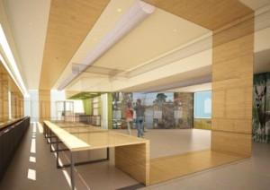 Het bamboehout van de lange tafel loopt door in de vloer en via een pilaar in het plafond. Door de roestvrijstalen panelen onder de vensters wordt afvalwater geleid voor een constante temperatuur