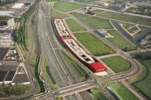 Eindbeeld The Wall met links de A2, de kavels rechts worden ook bebouwd als onderdeel van Leidsche Rijn