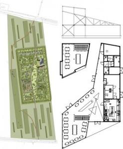 Situatie met in donkergrijs het informatiecentrum en plattegronden en doorsnede 1:600