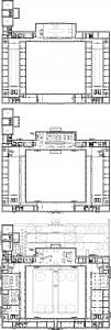 Hermitage Amsterdam. Plattegronden begane grond, eerste en tweede verdieping