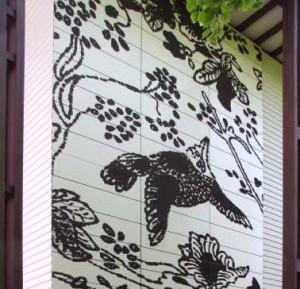 Uitvergroot batikpatroon in Trespa vectogram