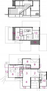 Plattegronden BG en verdieping plus doorsnede.  1 ingang. 2 hal. 3 eetkamer. 4 zitkamer. 5 keuken. 6 studio. 7 kastengang. 8 berging. 9 garage. 10 gastenverblijf. 11 lift.  12 veranda. 13 slaapkamer. 14 balkon.