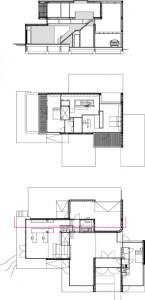 BG, 1e verdieping plus doorsnede.  1 ingang. 2 hal. 3 eetkamer. 4 zitkamer. 5 keuken. 6 studio. 7 kastengang. 8 berging. 9 garage. 10 gastenverblijf. 11 lift.  12 veranda. 13 slaapkamer. 14 balkon.