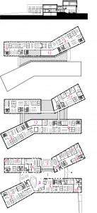 Begane grond, eerste en tweede verdieping. 1 centrale hal. 2 publieksbalie/spreekkamers. 3 raadzaal. 4 trouwzaal. 5 politieke huiskamer. 6 restaurant. 7 vergaderzaal. 8 politiepost. 9 kantoortuin. 10 logistiek centrum. 11 B&W. 12 techniek.