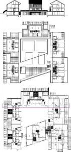 Plattegronden begane grond en eerste verdieping plus doorsnede 1:750
