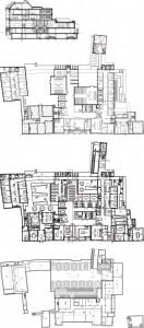 11 Plattegronden kelder, begane grond en eerste verdieping plus doorsnede 1:750