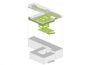 6 Concept met atrium en speelplein als plug in het bestaande gebouw