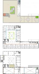 9 Plattegronden begane grond, eerste verdieping en dak 1:500