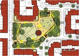 Inrichtingsplan Fakonahof door het Ingenieurs bureau Den Haag (IbDH), ontwerp Fokke Ypma