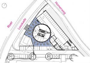Situatie 1: 1000 met de toren en aangrenzende parkeergarage aan de Maasoever
