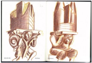 Inspiratieschetsen Natalini, links toren van Contre Escarpe Doesburg, rechts de Onze Lieve Vrouwekerk in Roermond