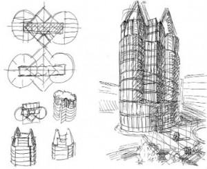 Verschillende studies van de torenopbouw, schets Natalini